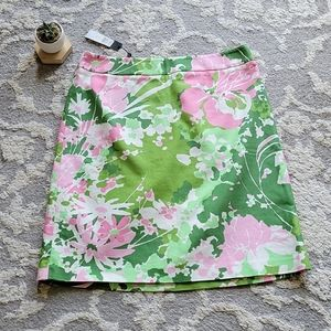 Talbots Green Pink Floral Skirt 12 New with Tags